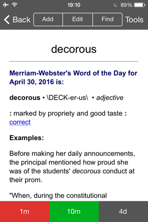 作成例 Merriam-Webster's Word of the Day