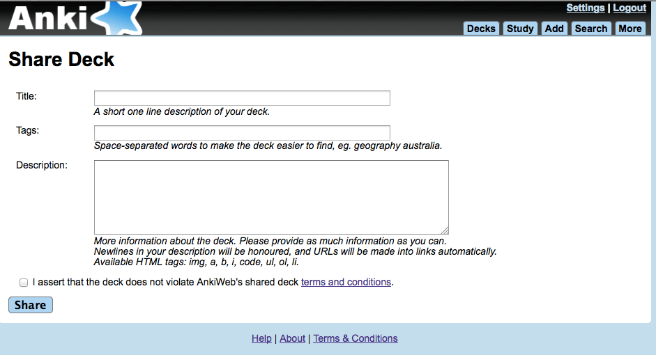 共有単語帳の提出フォーム