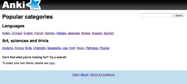 AnkiWeb 共有単語帳の分類表