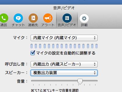 Skype 音声の設定例
